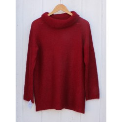 Pull col boule - rubis
