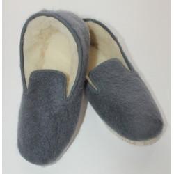 Charentaises en mohair et laine - grises