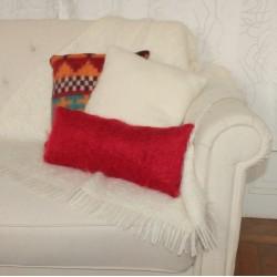 Coussin en mohair et laine