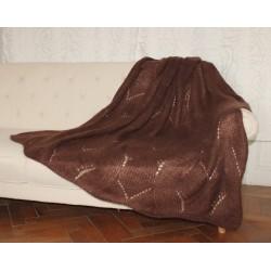 Plaid tricoté en pur mohair - chocolat