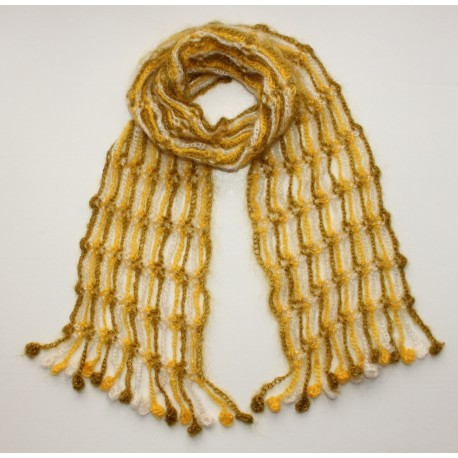 Echarpe crochetée multicolore - algue, jaune, écru