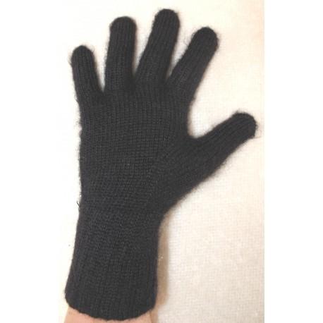 gants mohair et soie noir