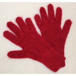 gants mohair et soie rubis